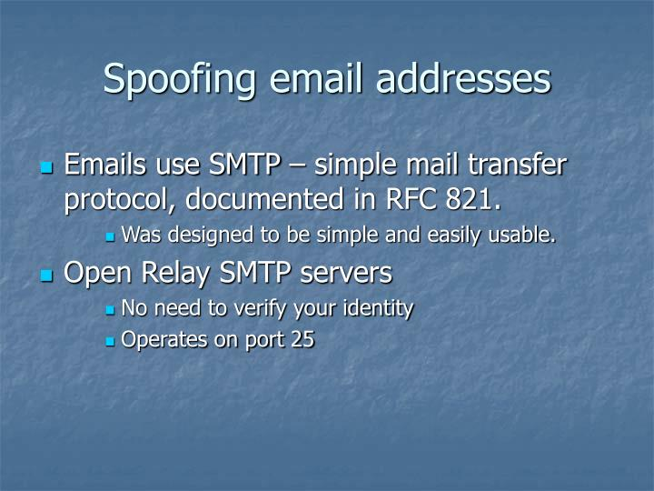 Spoofing email addresses