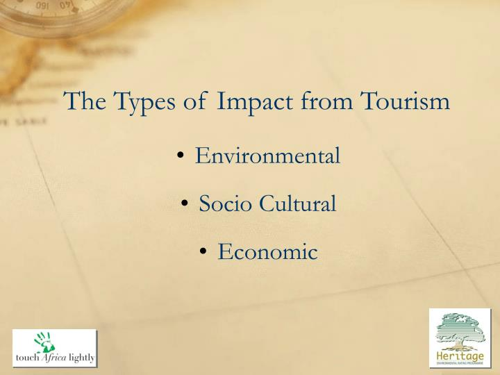 The types of impact from tourism