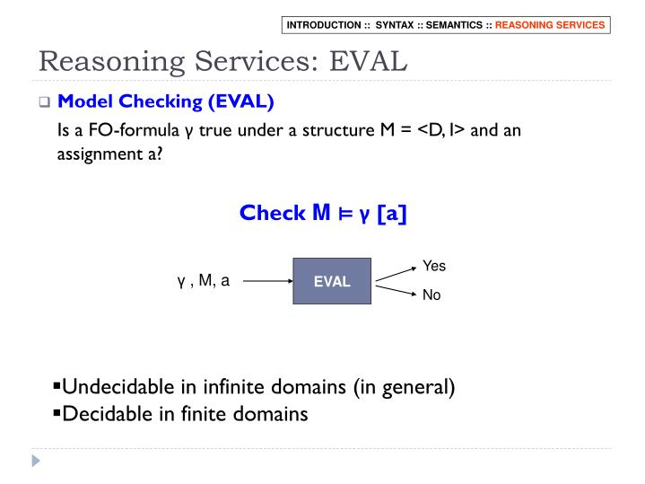 Reasoning Services: EVAL