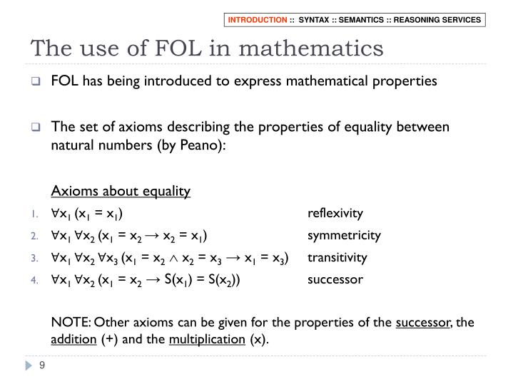The use of FOL in mathematics