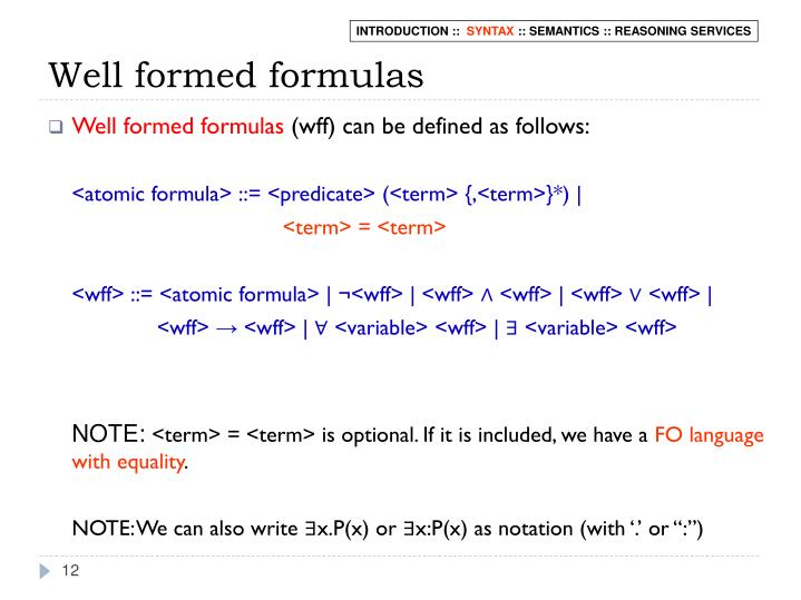 Well formed formulas