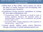 how to regulate nanotechnology in the eu in the future