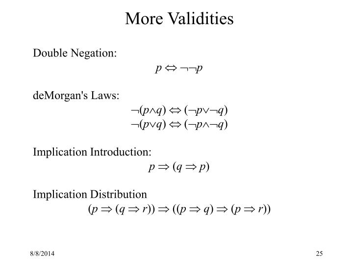 More Validities