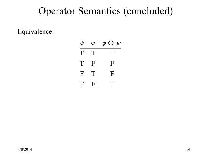 Operator Semantics (concluded)