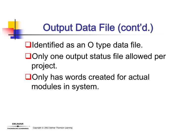 Output Data File (cont'd.)