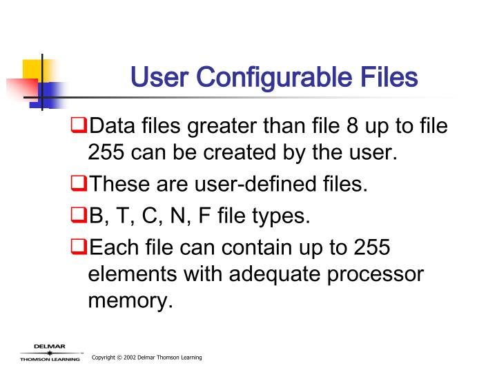 User Configurable Files