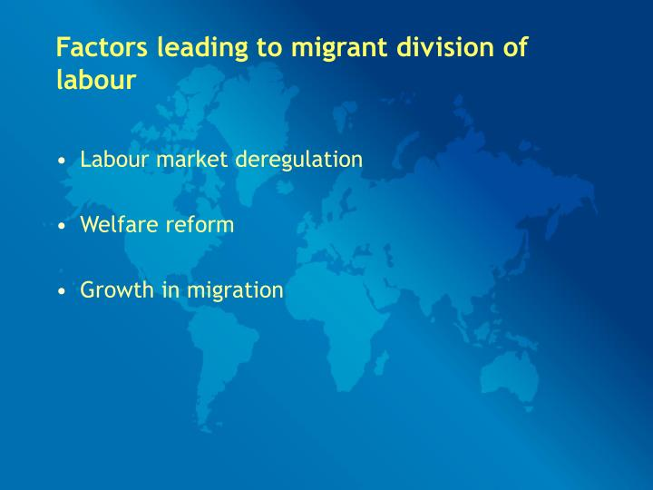 Factors leading to migrant division of labour