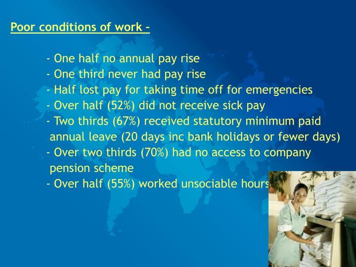 Poor conditions of work –