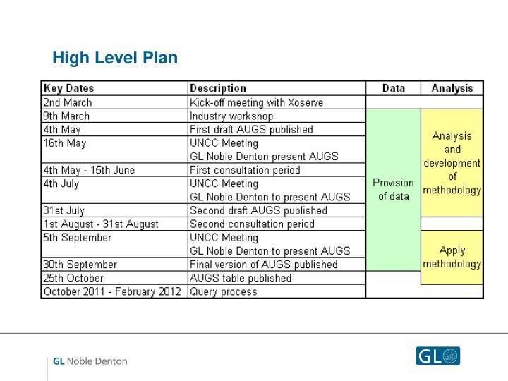 High Level Plan