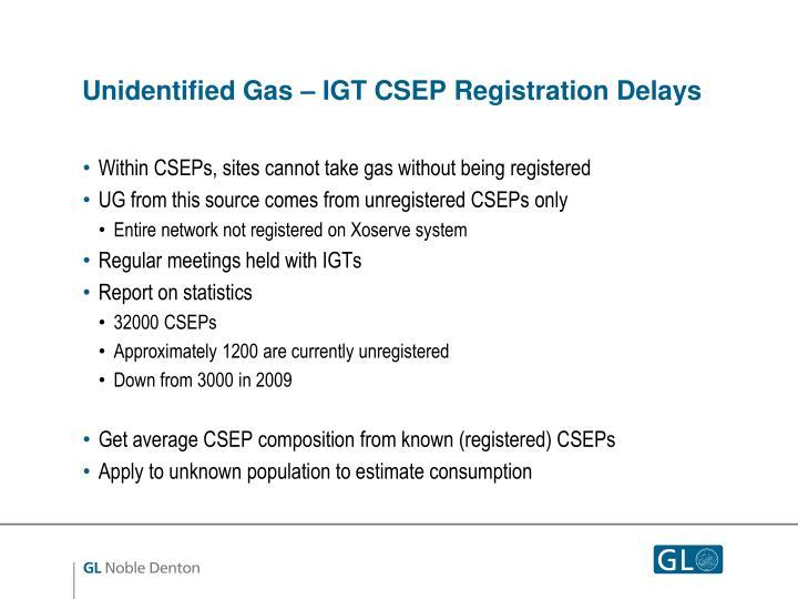 Unidentified Gas – IGT CSEP Registration Delays