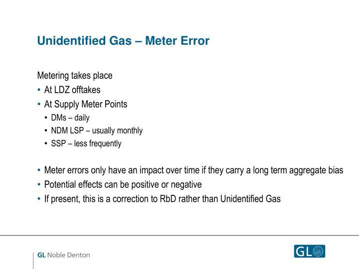 Unidentified Gas – Meter Error