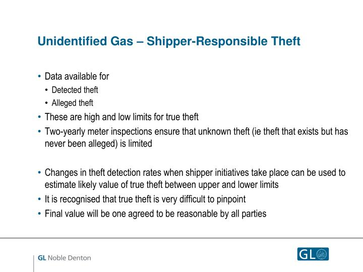 Unidentified Gas – Shipper-Responsible Theft