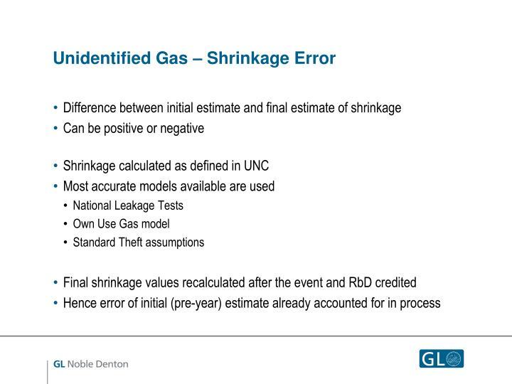 Unidentified Gas – Shrinkage Error
