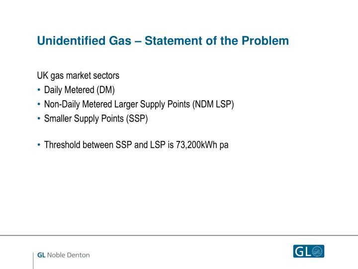Unidentified Gas – Statement of the Problem