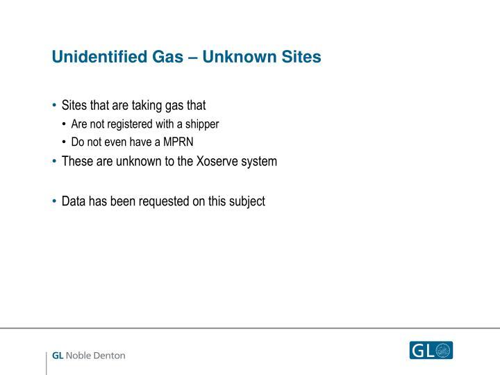 Unidentified Gas – Unknown Sites