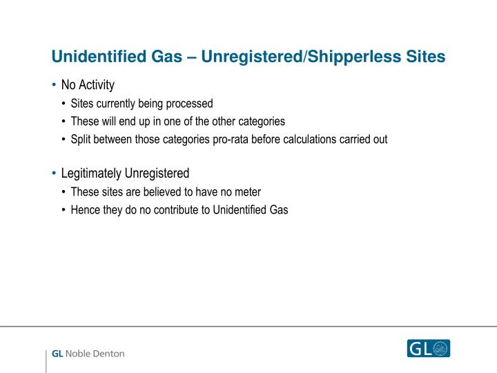 Unidentified Gas – Unregistered/Shipperless Sites