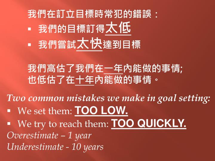 我們在訂立目標時常犯的錯誤: