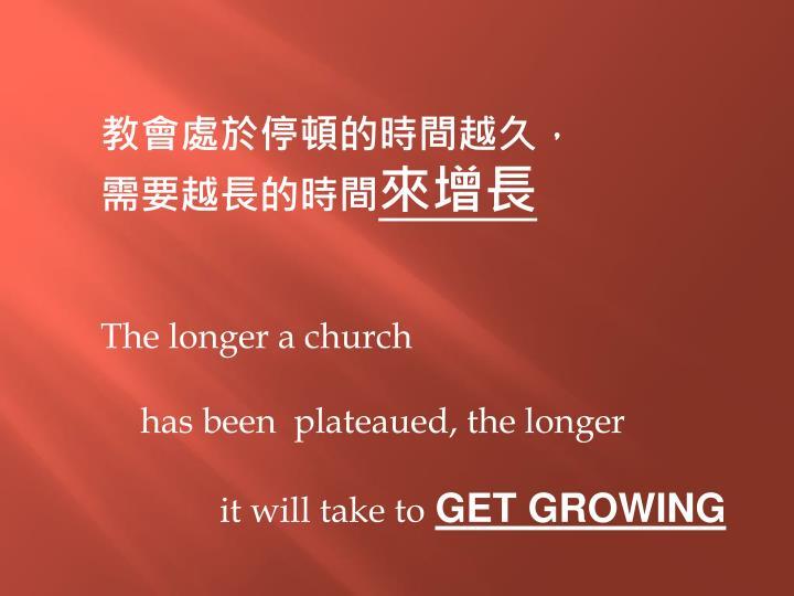 教會處於停頓的時間越久,需要越長的