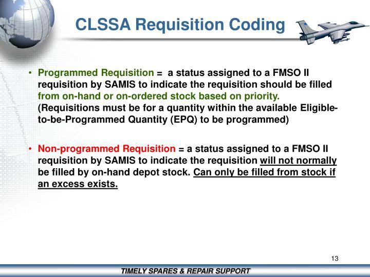 CLSSA Requisition Coding