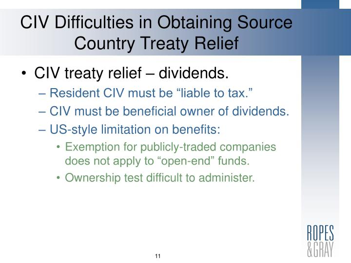 CIV Difficulties in Obtaining Source Country Treaty Relief