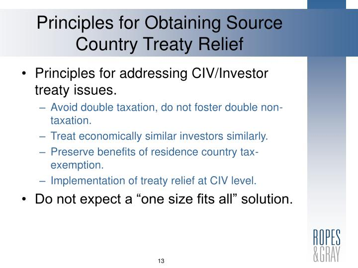 Principles for Obtaining Source Country Treaty Relief