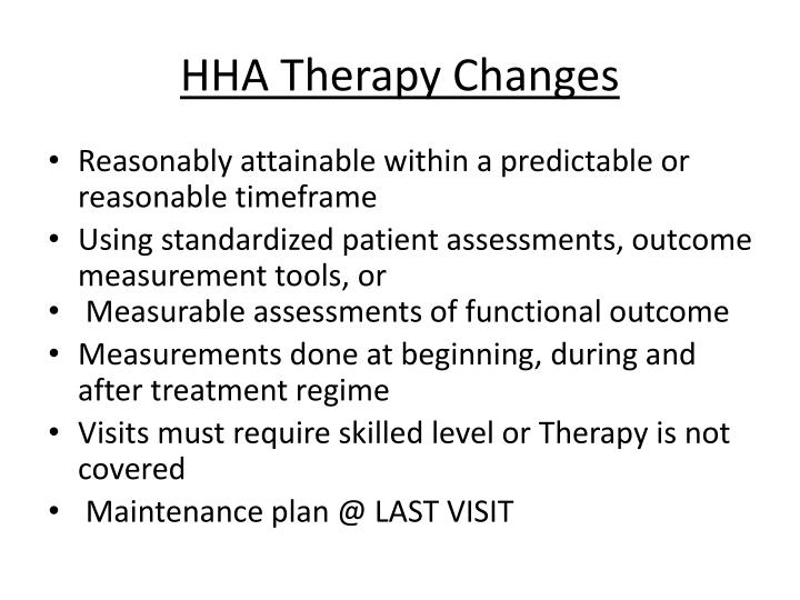 HHA Therapy Changes