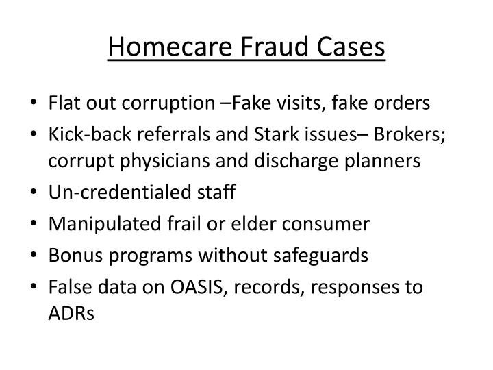 Homecare Fraud Cases