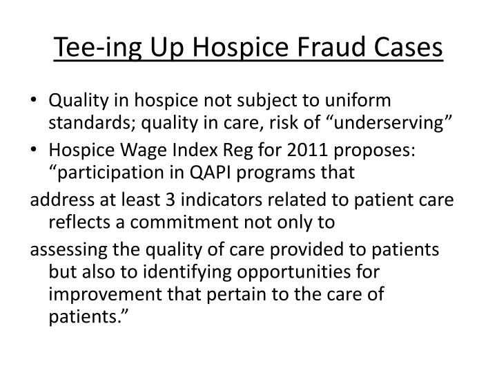 Tee-ing Up Hospice Fraud Cases