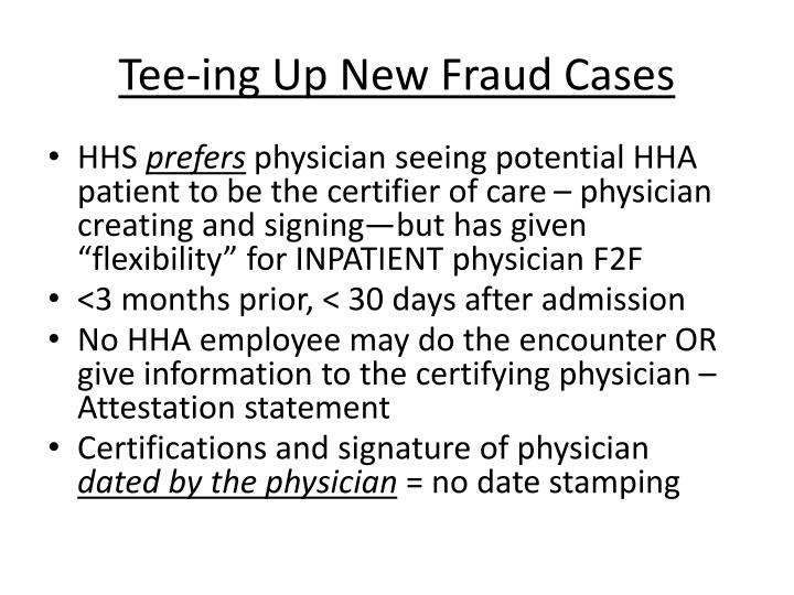Tee-ing Up New Fraud Cases