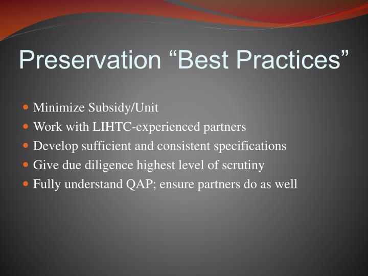 "Preservation ""Best Practices"""