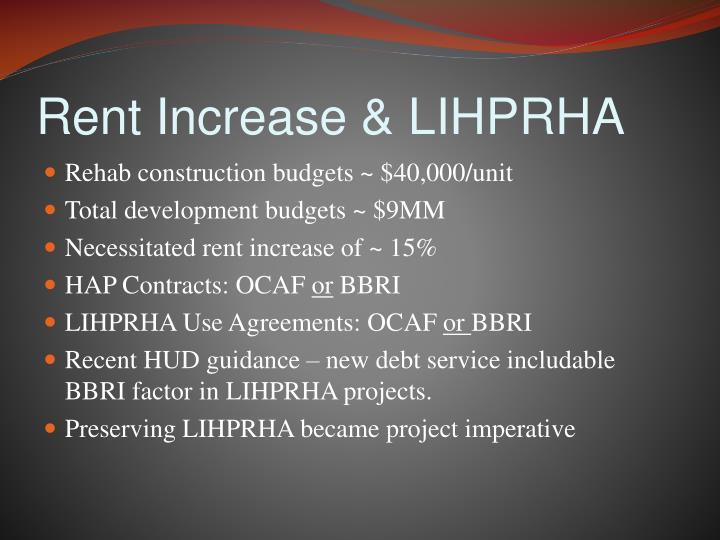 Rent Increase & LIHPRHA