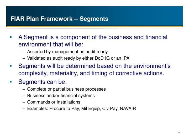 FIAR Plan Framework -- Segments