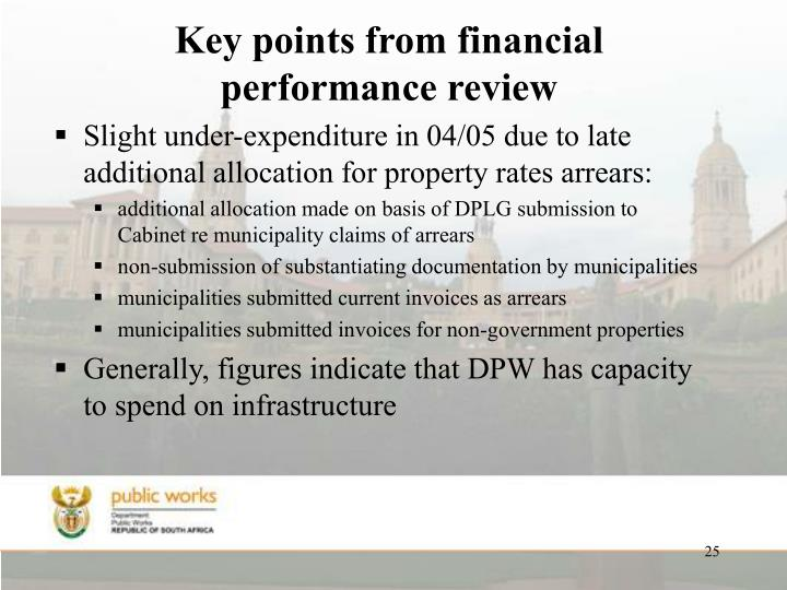Key points from financial performance review