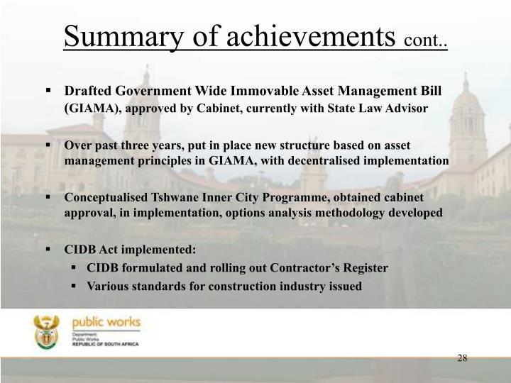 Summary of achievements