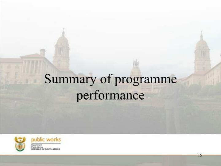 Summary of programme performance