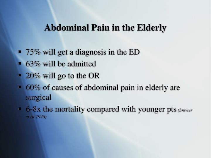 Abdominal Pain in the Elderly