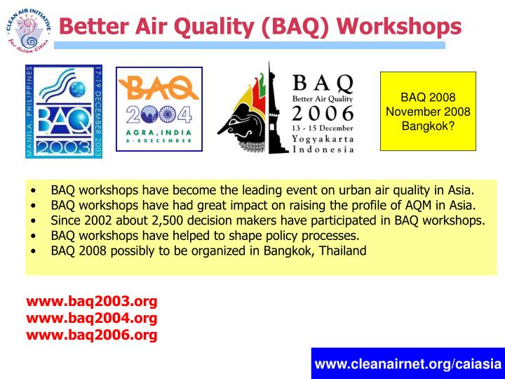 Better Air Quality (BAQ) Workshops