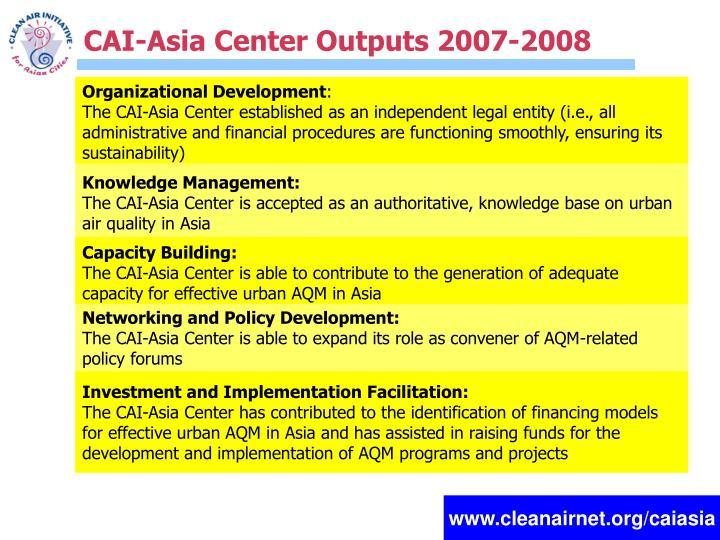 CAI-Asia Center Outputs 2007-2008