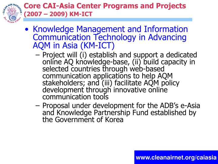 Core CAI-Asia Center Programs and Projects