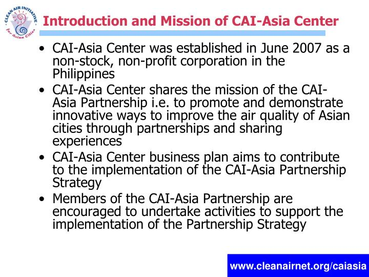 Introduction and Mission of CAI-Asia Center