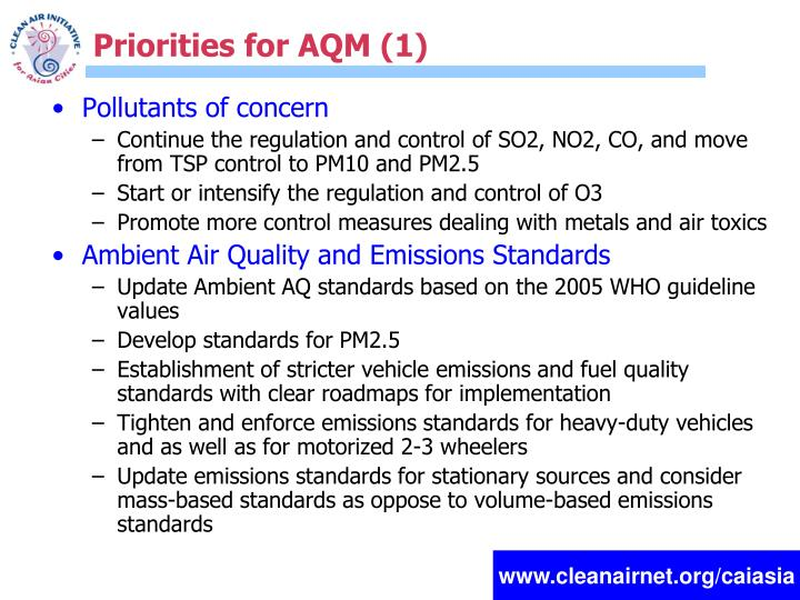Priorities for AQM (1)