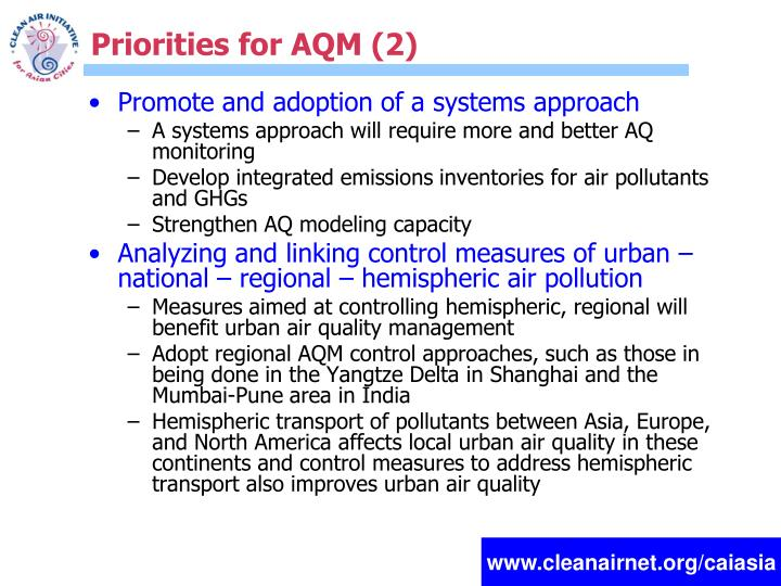 Priorities for AQM (2)