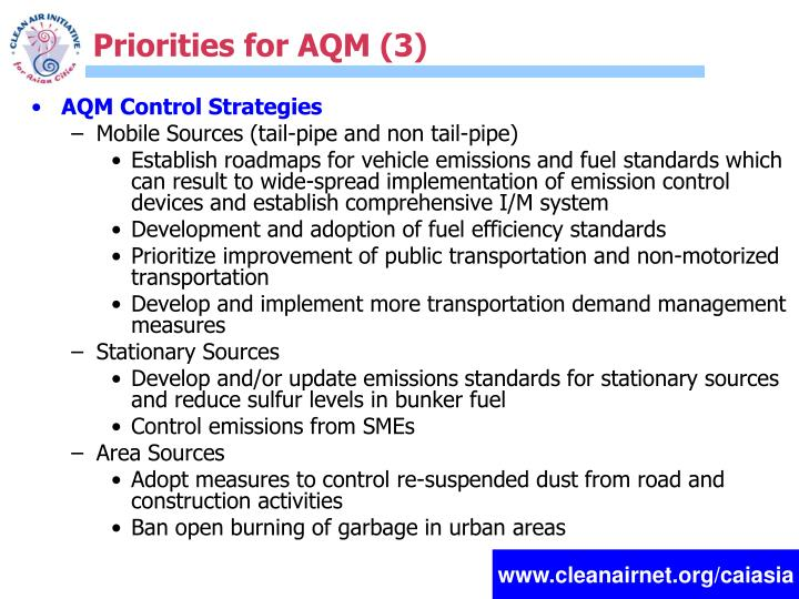 Priorities for AQM (3)