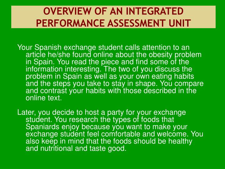 OVERVIEW OF AN INTEGRATED PERFORMANCE ASSESSMENT UNIT