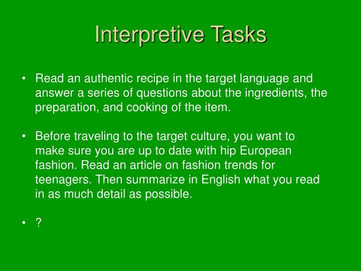 Interpretive Tasks