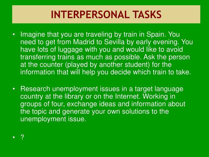 INTERPERSONAL TASKS