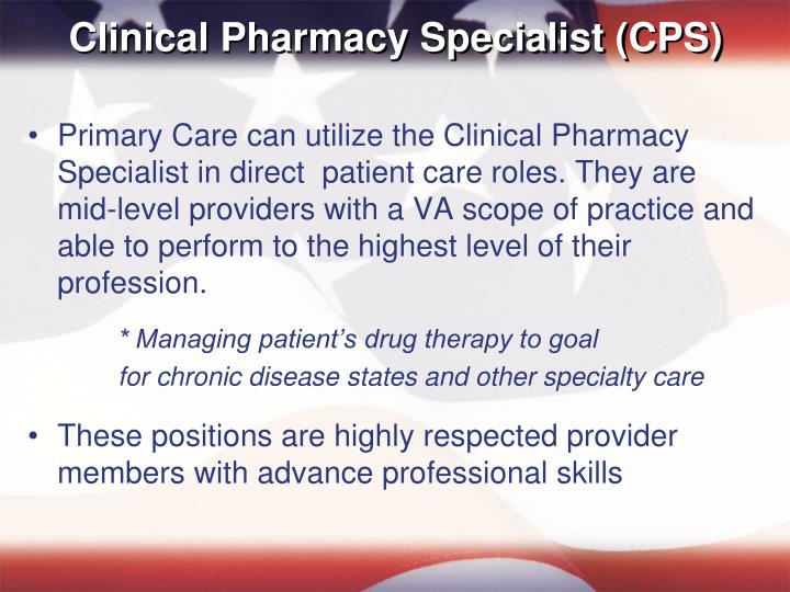Clinical Pharmacy Specialist (CPS)