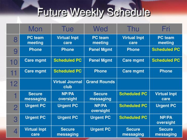 Future Weekly Schedule