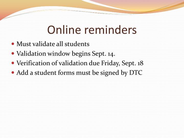 Online reminders