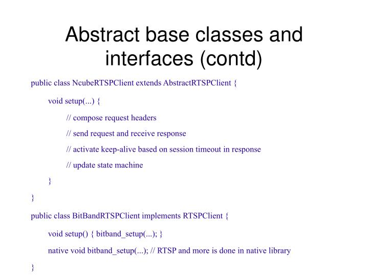 Abstract base classes and interfaces (contd)